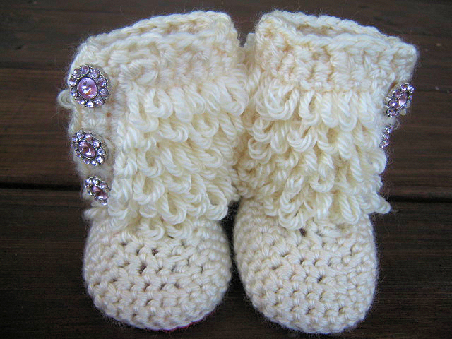Crochet Baby Booties Furry Ugg Inspired Loopy Diva Boots 6 Months To
